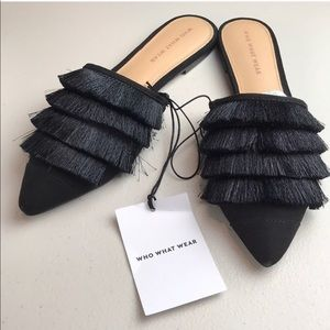 Who what wear black fringe women's flat mules